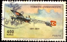Selo postal da Turquia de 1971 Bleriot XI Plane with Turkish Flag