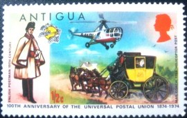 Selo postal da Antigua de 1974 English Postman Mail Coach & Helicopter