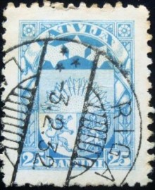 Selo postal da Letônia de 1925 Coat of Arms 25 santimi
