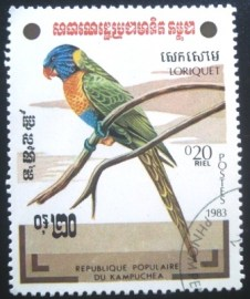 Selo postal do Cambodja de 1983 Ornate Lorikeet