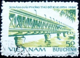 Selo postal do Vietnam de 1984 Thang Long bridge