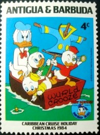 Selo postal de Antigua e Barbuda de 1984 50th Anniv. Donald Duck