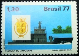 Selo postal do Brasil de 1977 Frotilha do Amazonas