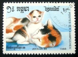 Selo postal da Kampuchea de 1988 Shot-hair Tortoiseshell and White