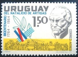 Selo postal Aéreo do Uruguai de 1965 General Jose Artigas