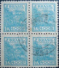 Quadra de selos postais do Brasil 1942 Agricultura 400rs