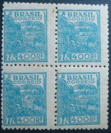 Quadra de selos postais do Brasil 1942 Agricultura 400rs M