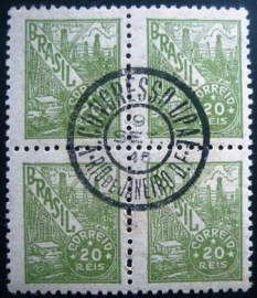 Quadra de selos postais do Brasil 1942 UPAE Petróleo 20rs