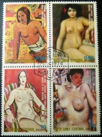 Série postal da Rep. Guiné Equatorial de 1975 Nude Paintings