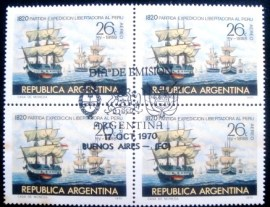 Quadra de selos postais da Argentina de 1970 Expedition to liberate Perù