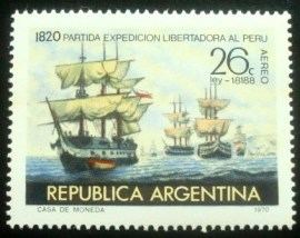 Selo postal da Argentina de 1970 Expedition to liberate Perù