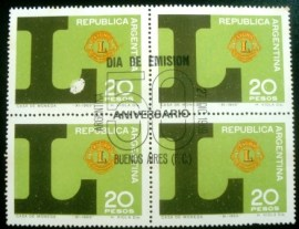 Quadra de selos postais da Argentina de 1969 Anniversary of Lions International