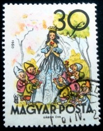 Selo postal da Hungria de 1960 Snow White and the Seven Dwarves