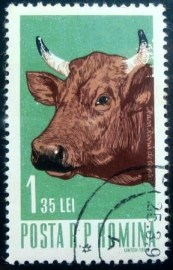 Selo postal da Romênia de 1962 Female Cattle