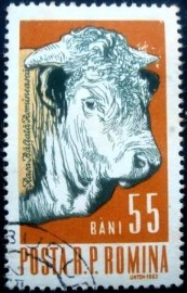 Selo postal da Romênia de 1962 Male Cattle