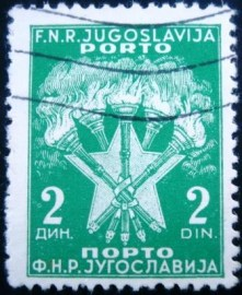 Selo postal da Iuguslávia de 1951 Torches and Stars 2