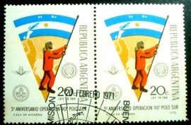 Par de selos postais da Argentina de 1971 Antarctic Expedition