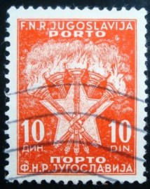 Selo postal da Iuguslávia de 1951 Torches and Stars 10