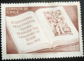 Selo postal do Chile de 1969 Open Bible