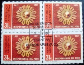 Quadra de selos postais da Argentina de 1971 Independence of Peru