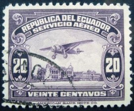Selo postal do Ecuador de 1929 Airplane over Guayaquil