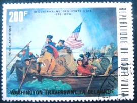 Selo postal de Haute-Volta de 1975 Washington crossing Delaware River