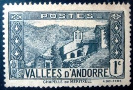 Selo postal da Andorra Francesa de 1932 Church of Meritxell