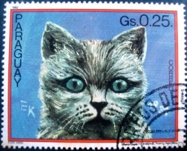Selo postal do Paraguai de 1982 Cat on dark blue