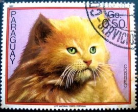 Selo postal do Paraguai de 1982 Cat on light red