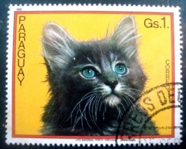 Selo postal do Paraguai de 1982 Cat on yellow