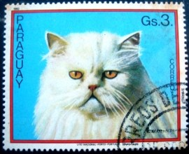Selo postal do Paraguai de 1982 Cat on light blue