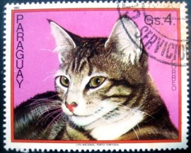 Selo postal do Paraguai de 1982 Cat on crimson