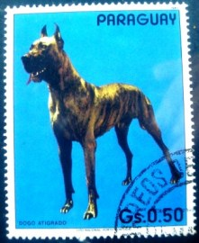 Selo postal do Paraguai de 1984 Great Dane