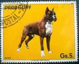 Selo postal do Paraguai de 1984 German Boxer