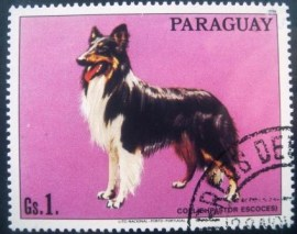 Selo postal do Paraguai de 1986 Collie