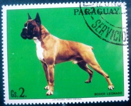 Selo postal do Paraguai de 1986 German Boxer