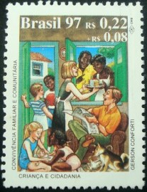 Selo postal do Brasil de 1997 Convivência Familiar