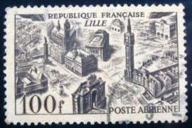 Selo postal da França de 1949 Views of the town