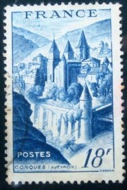 Selo postal da França de 1948 Abbey of Conques