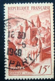 Selo postal da França de 1947 Abbey of Conques