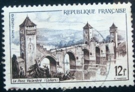 Selo postal da França de 1955 The bridge Valentré