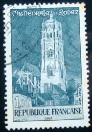 Selo postal da França 1967 The Cathedral Rodez