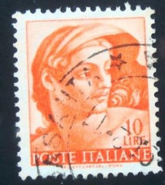 Selo postal da Itália de 1961 Head of