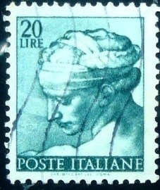Selo postal da Itália de 1961 Head of the Libyan Sibyl