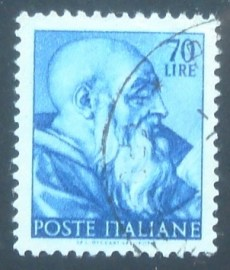 Selo postal da Itália de 1961 Head of the prophet Zechariah