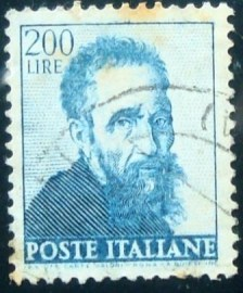Selo postal da Itália de 1961 Head of Michelangelo