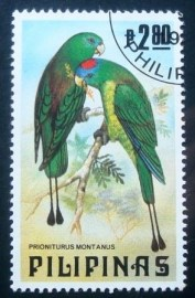 Selo postal das Filipinas de 1984 Mountain Raquet-tailed Parrot