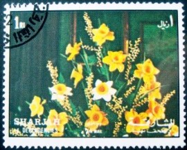 Selo postal do Sharjah de 1972 Daffodils