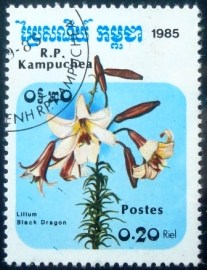 Selo postal do Cambodja de 1995 Black dragon