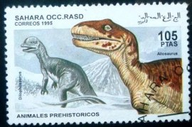 Selo postal do Sahara Ocidental de 1995 Allosaurus